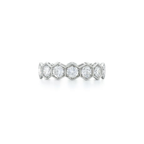 Signed Fred Leighton Hexagonal Diamond Eternity Band Ring R1014-DIA