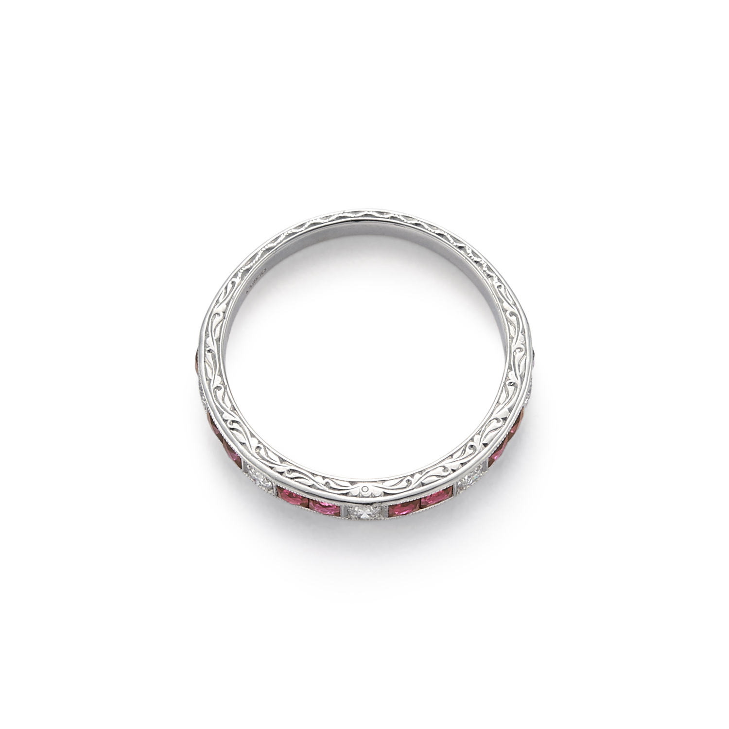 Signed Fred Leighton Channel Set Ruby and Diamond Band Ring R1030-DIARUB