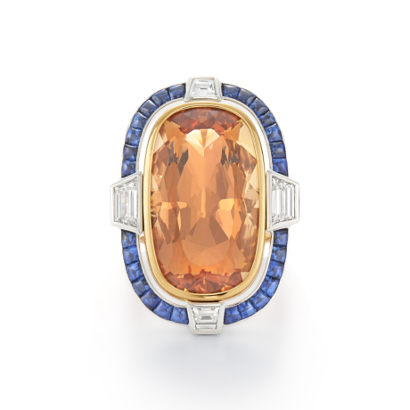 Signed Fred Leighton Precious Topaz and Sapphire Cocktail Ring R1042-TOP