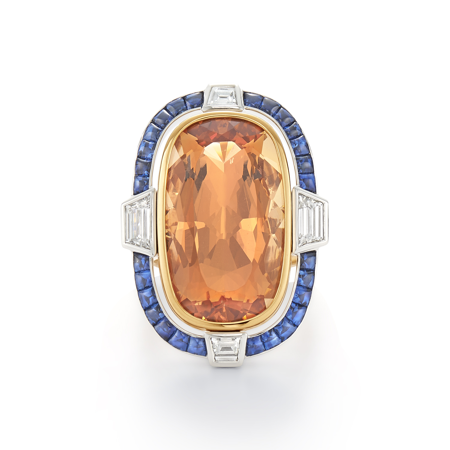 Signed Fred Leighton Precious Topaz and Sapphire Cocktail Ring R-1042FL-0-TOP-PT8Y
