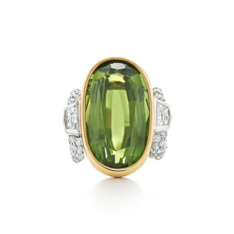 Signed Fred Leighton Peridot and Diamond Cocktail Ring R1043-PER