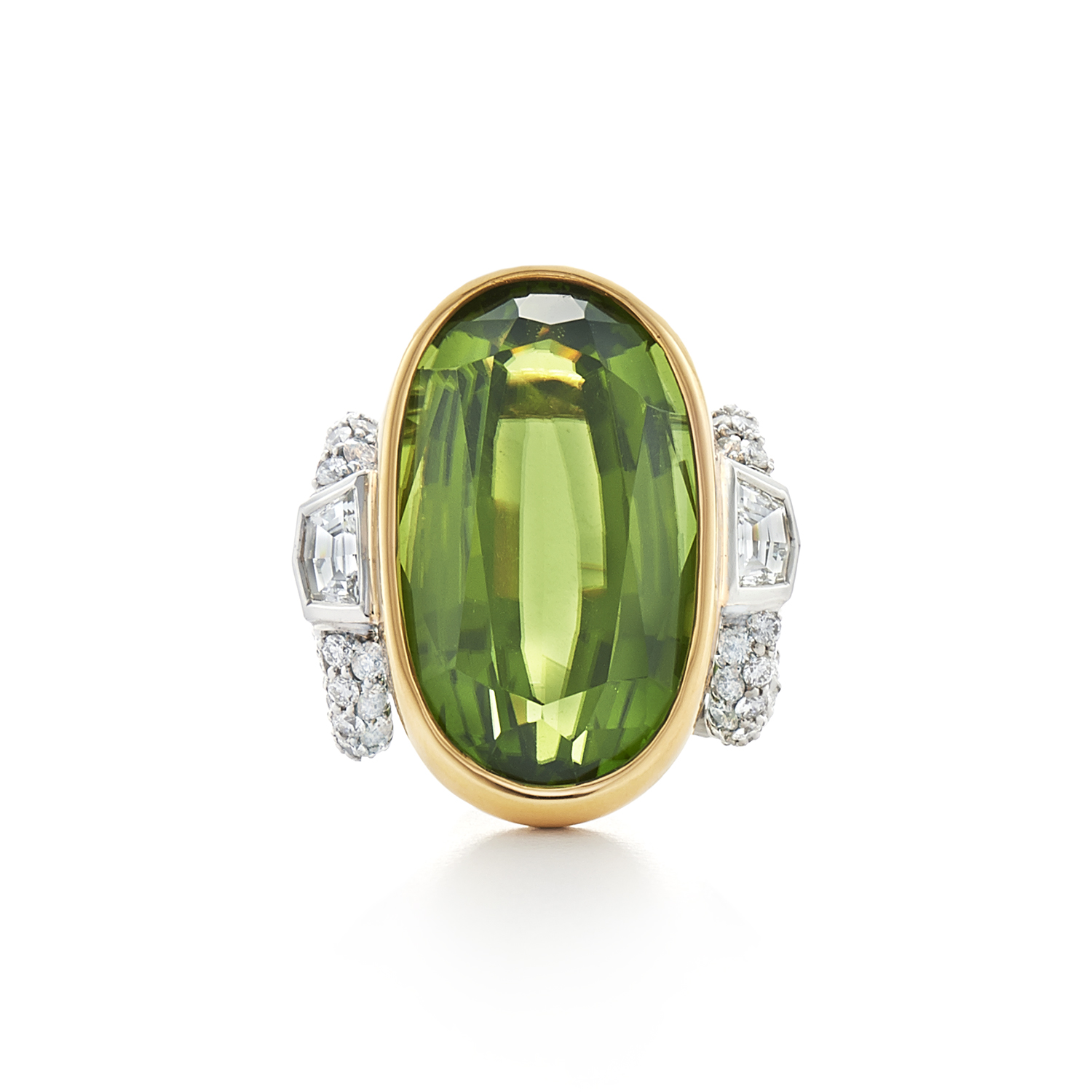 Signed Fred Leighton Peridot and Diamond Cocktail Ring R-1043FL-0-PER-PT8Y