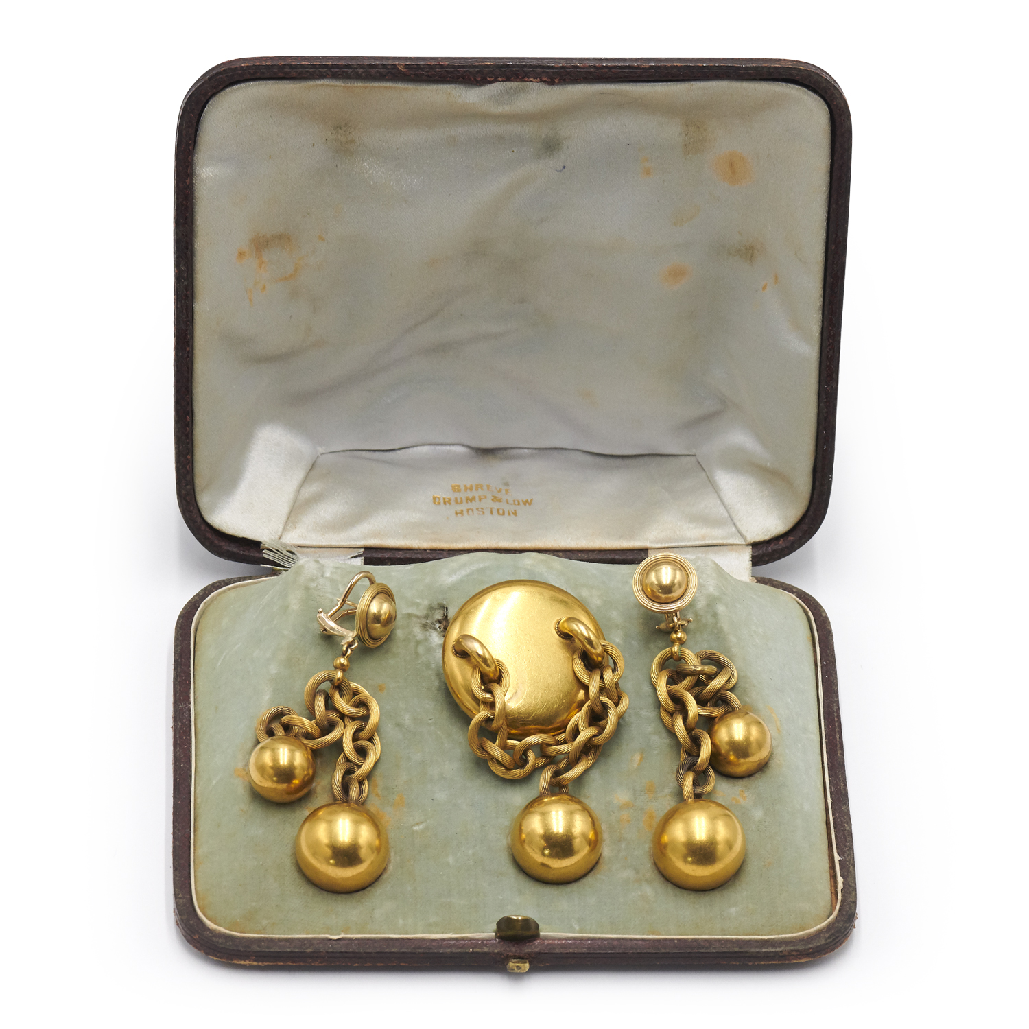 Antique 18K Yellow Gold Ball Motif Suite by Shreve Crump & Low, Serial FL41560